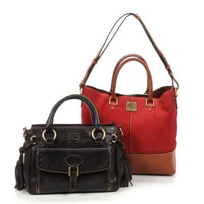 Dooney & Bourke Red/Tan Leather Two-Way Bag with Brown Grained Leather Handbag