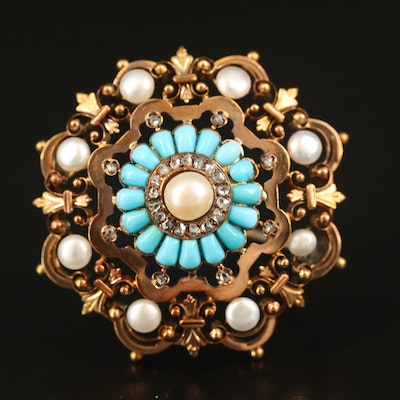 Victorian Etruscan Revival 14K Pearl, Turquoise and Diamond Openwork Brooch