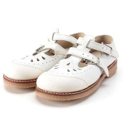 Children's Eyelet Mary Jane Shoes by Nie's Rite Posture in White Leather