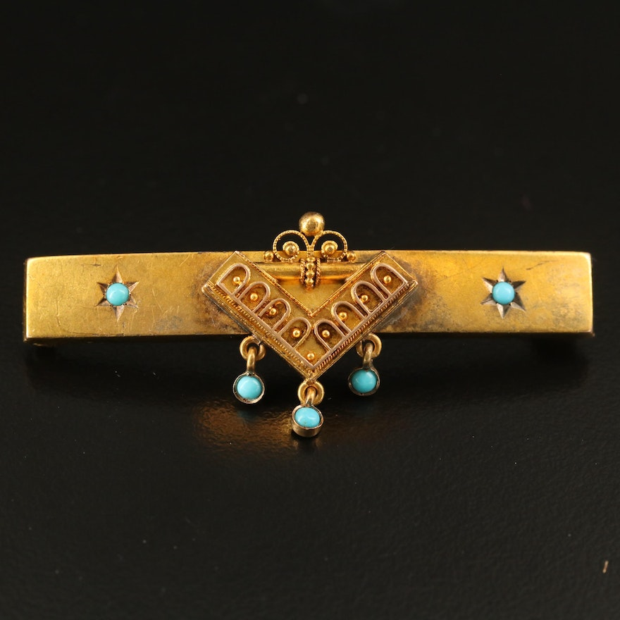 Victorian Etruscan Revival 14K Turquoise Bar Brooch
