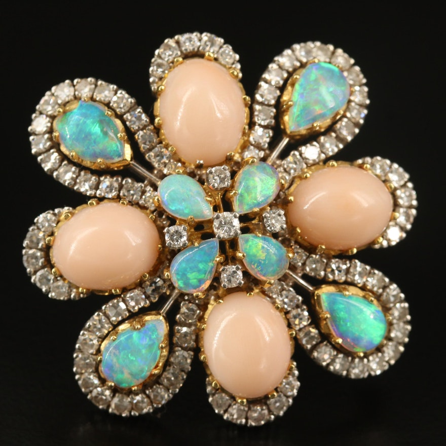 Casbah 14K Coral, Opal and 3.00 CTW Diamond Converter Brooch