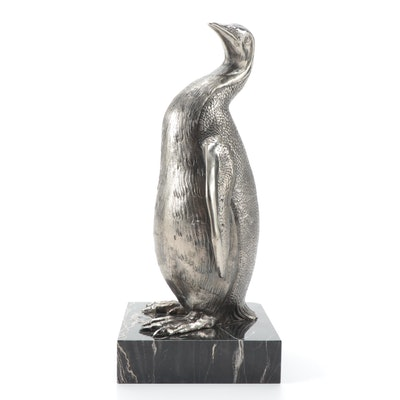 Italian Silver Tone Metal Penguin Figurine on Black Marble Base
