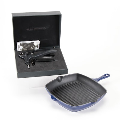 "Le Creuset Indigo Griddle Pan with Le Creuset ""Screwpull"" Wine Opener"
