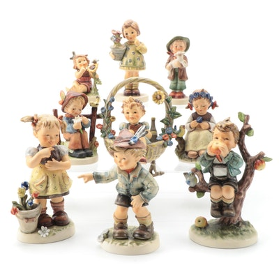 "Goebel Hummel Porcelain Figurines Including ""Basket of Gifts"" and ""The Botanist"""