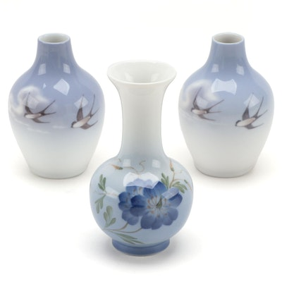 Royal Copenhagen Swallow Motif Porcelain Bud Vases and More