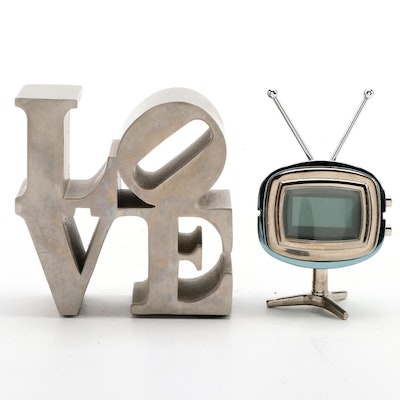 "After Robert Indiana ""Love"" Chrome Paperweight with Mod TV Paperweight"