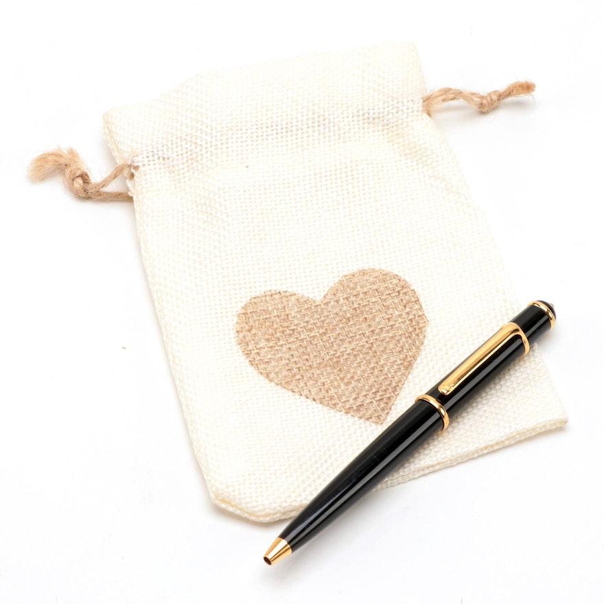 """Cartier """"Diabolo"""" Black Resin and Gold Plate Ballpoint Pen"""