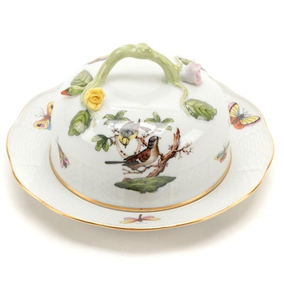 "Herend ""Rothschild Bird"" Porcelain Round Covered Butter Dish"