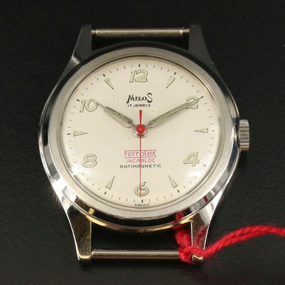 Vintage Milos Stainless Steel Stem Wind Wristwatch