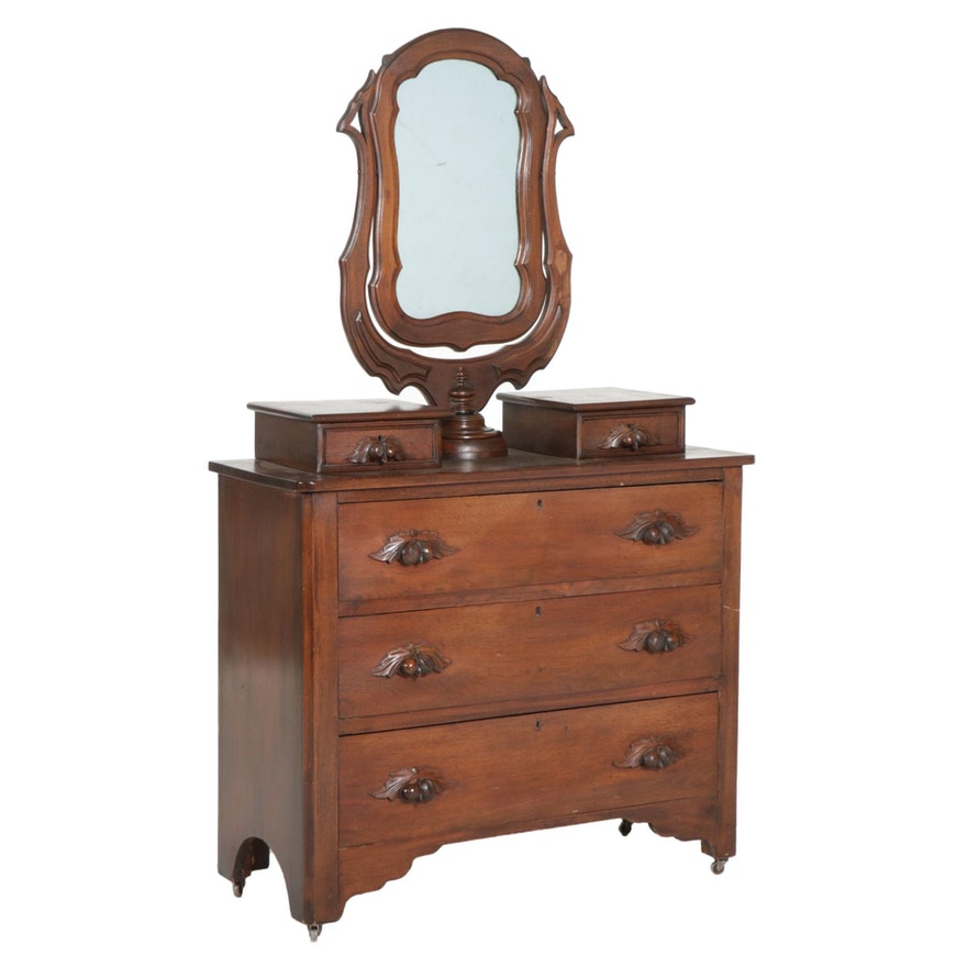 Victorian Walnut Chest of Drawers with Pedestal Mirror,  Late 19th Century