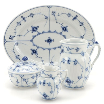 """Royal Copenhagen """"Blue Fluted"""" Platter and Other Tableware, Early to Mid-20th C."""