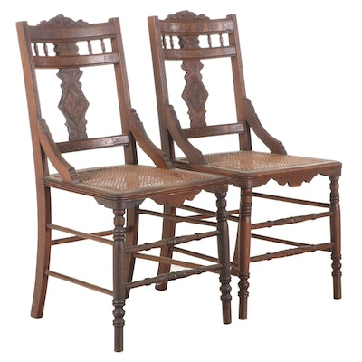 Pair of Eastlake Walnut Side Chairs, Late 19th Century