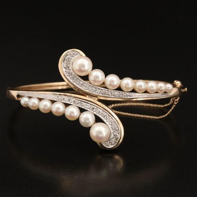 14K Pearl and Diamond Oval Hinged Bypass Bangle