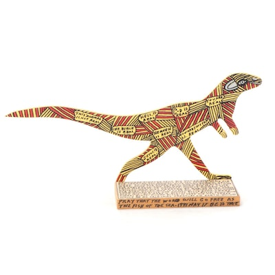 Howard Finster Folk Art Mixed Media Sculpture of Dinosaur, 1990