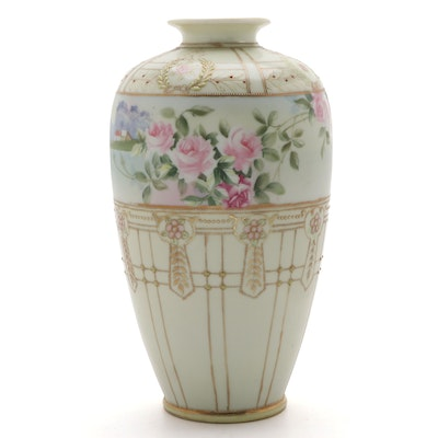 Morimura Bros. Nippon Hand-Painted Porcelain Vase, Early 20th C.
