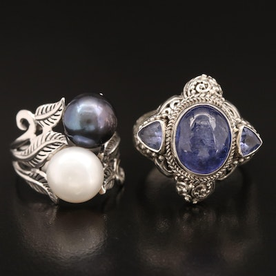 Sterling Pearl Foliate Ring and Sarda Sterling Tanzanite Ring