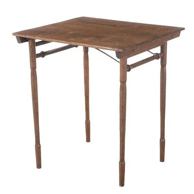 American Oak Folding Side Table, Late 19th/Early 20th Century