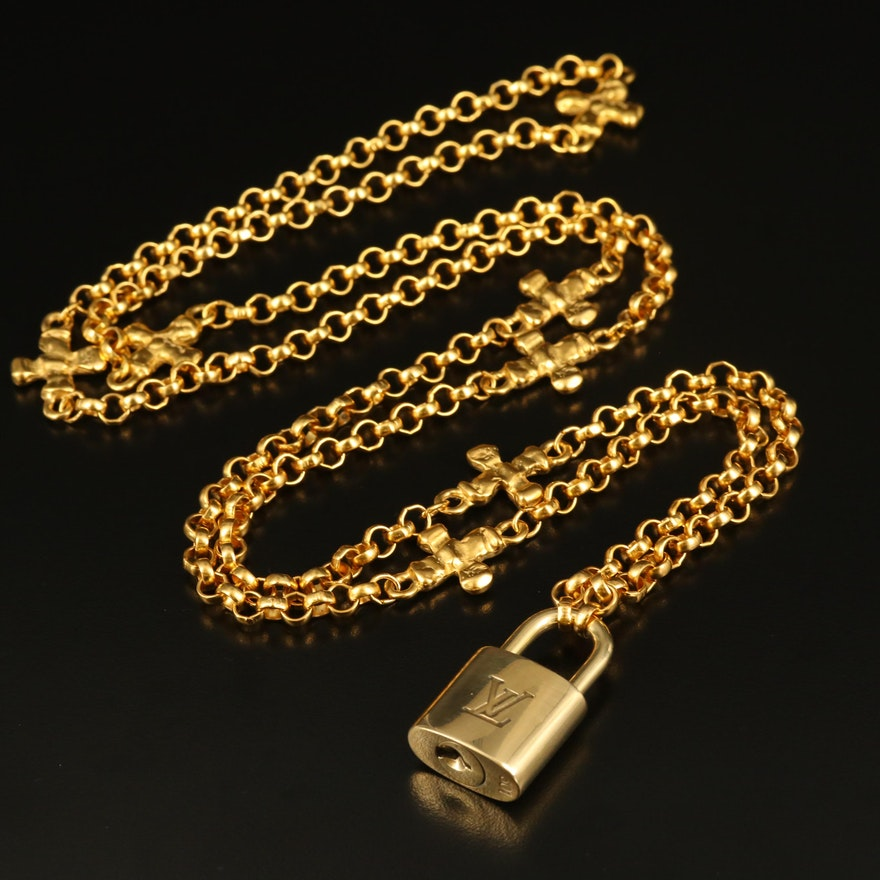 Louis Vuitton Lock on Rolo Station Necklace