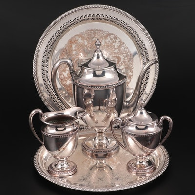 Art Silver Co. Silver Plate Coffee Service with Wm. Rogers Silver Plate Trays