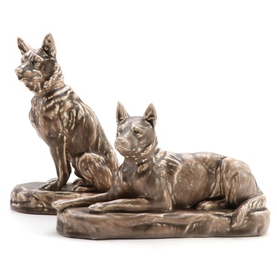 Mosaic Tile Co. German Shepherd  Ceramic Figurines, Mid-20th Century