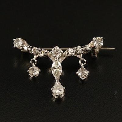 10K 1.30 CTW Diamond Brooch with Palladium Settings