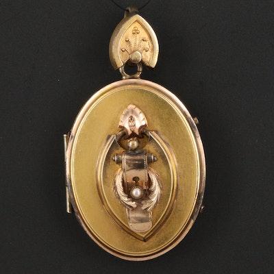 Mid-Victorian Imitation Pearl Buckle Locket