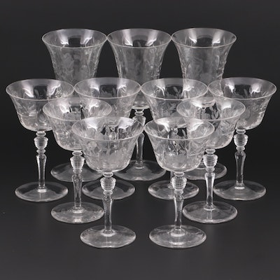 Floral Etched Glass Champagne Coupes and Wine Glasses, Mid-20th Century
