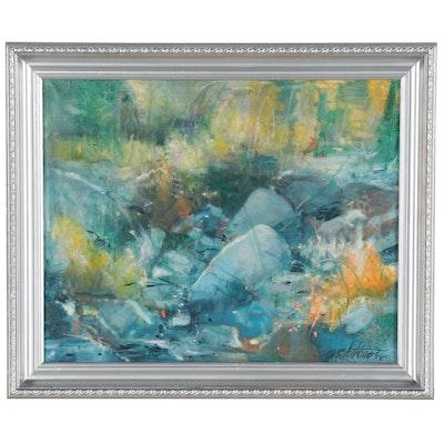"Mark Whitmarsh Oil Painting ""Colorado River Rocks"""
