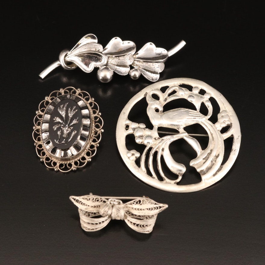 Vintage Brooches Including Forstner, Mexican, Sterling and 850 Silver