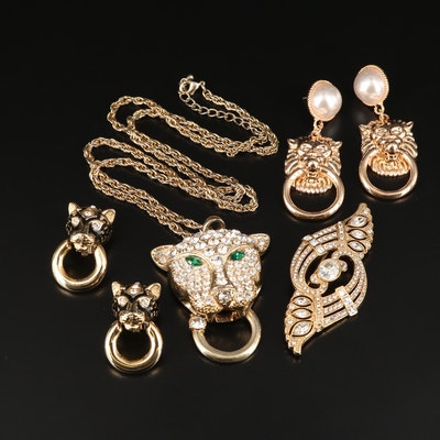 Rhinestone Jewelry Featuring Lion and Panther Designs