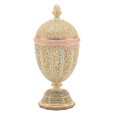 Royal Worcester Reticulated Porcelain Lidded Vessel, Late 19th/Early 20th C.