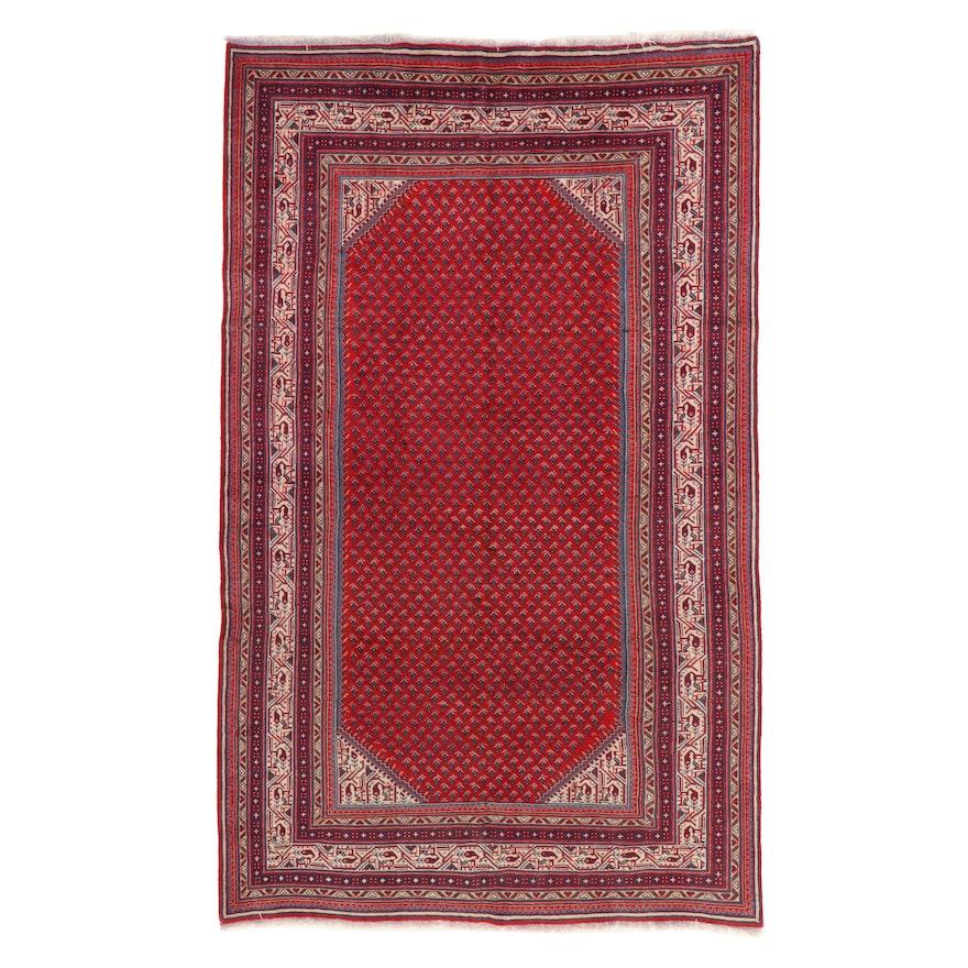 6'10 x 11'4 Hand-Knotted Persian Mir Sarouk Rug, 1960s