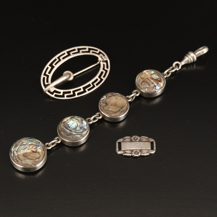Antique Sterling Silver Abalone Watch Fob, Forget-Me-Not Link and Brooch