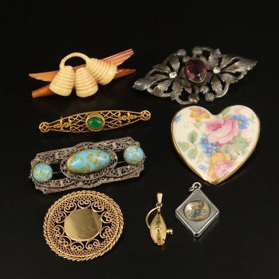 Compass Pendant, Gold Filled Filigree Brooch and Other Vintage Jewelry