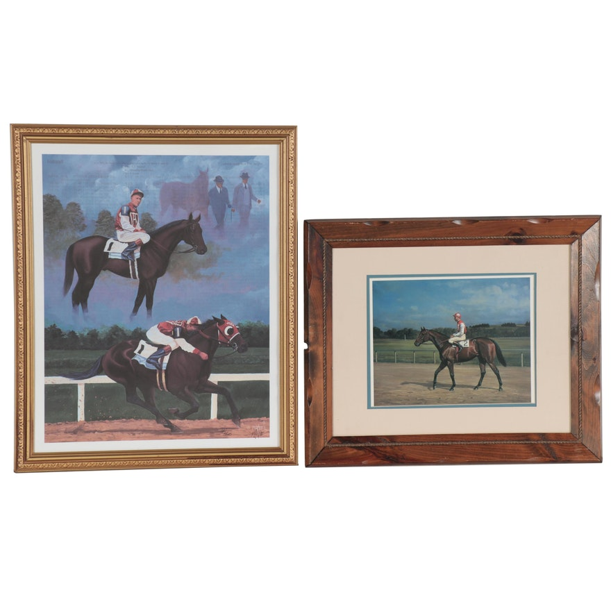Nick Martinez Offset Lithographs of Seabiscuit, One Signed, circa 2000