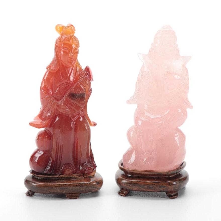 Japanese Carved Rose Quartz Ebisu with Agate Benzaiten Figurines