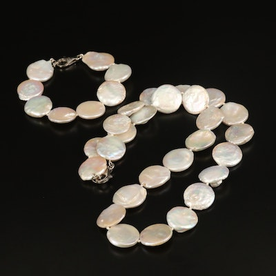 Coin Pearl Necklace and Bracelet Set with Sterling Clasps