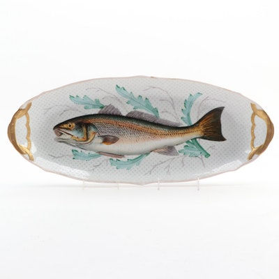 Oscar Gutherz Fish Motif Limoges Porcelain Serving Platter, Late 19th Century