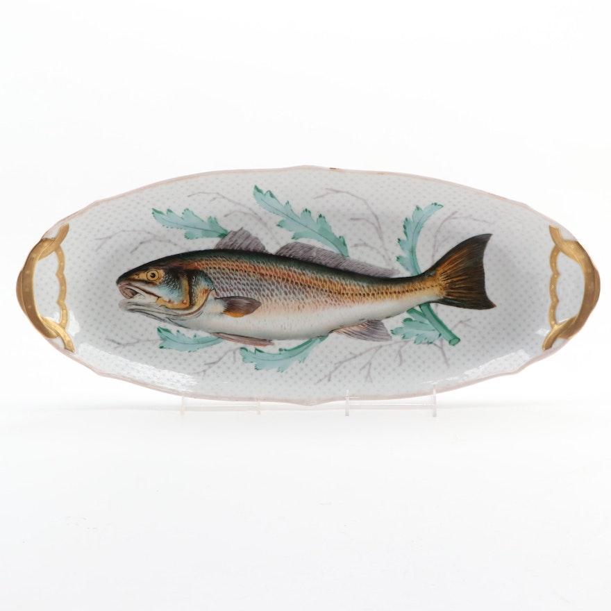 Oscar Gutherz Fish Motif Limoges Porcelain Serving Platter, Late 19th Century