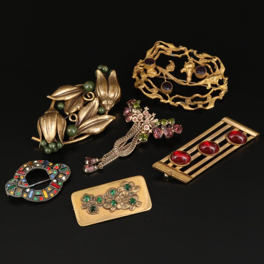 Vintage Brooches Featuring Multicolored Glass Accents