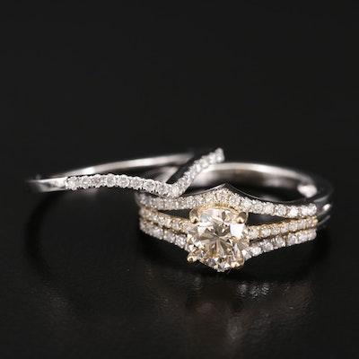14K Diamond Ring Set with 1.04 CT Center Diamond