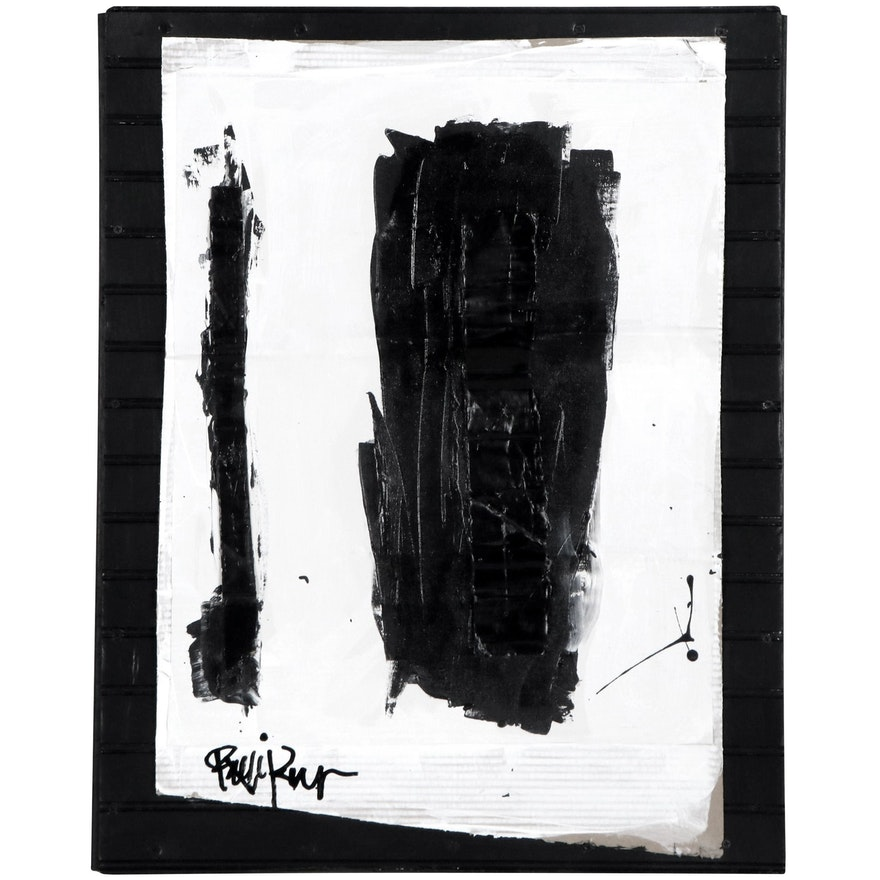 """Robbie Kemper Abstract Mixed Media Painting """"Two Verticles,"""" 21st Century"""