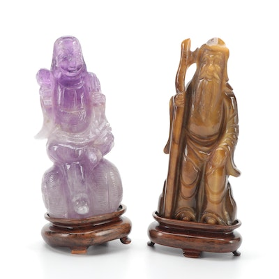 Japanese Carved Amethyst Daikokuten with Tiger's Eye Jurōjin Figurine