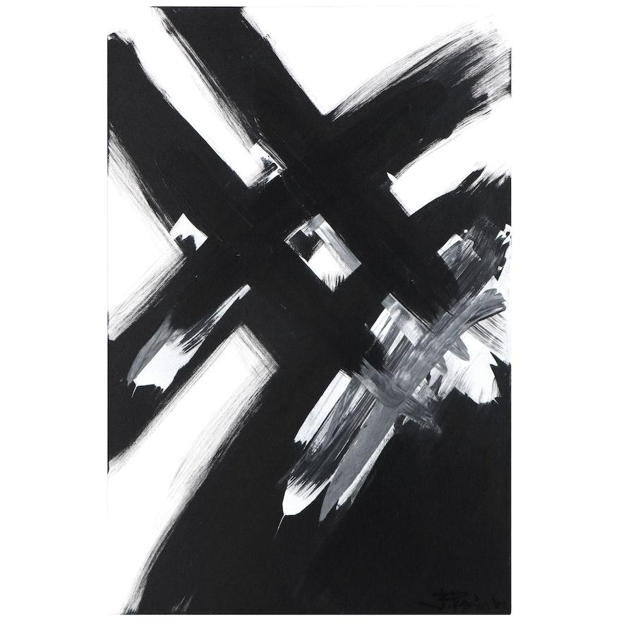 J. Popolin Abstract Acrylic Painting, 2021
