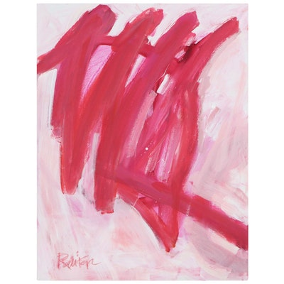 "Robbie Kemper Abstract Acrylic Painting ""Pink Waves,"" 21st Century"