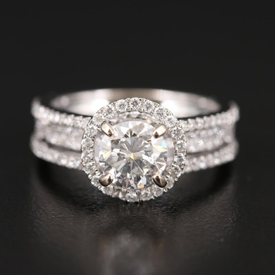 18K Diamond Ring with 1.01 CT Center Diamond and 1.00 CT Side Diamonds