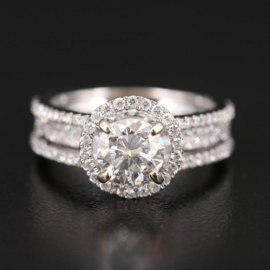 18K Diamond Ring with 1.01 CT Center Diamond and 1.00 CT Side Diamonds