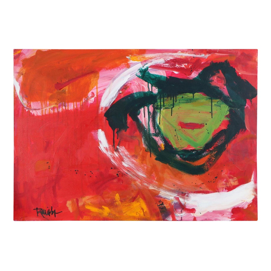 """Robbie Kemper Abstract Acrylic Painting """"Lime Wash Circle,"""" 21st Century"""