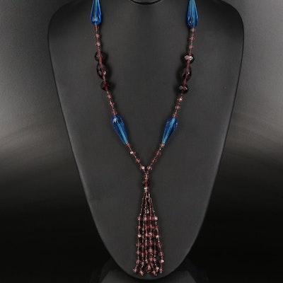 """Vintage Czech Glass """"Flapper"""" Sautoir Necklace"""