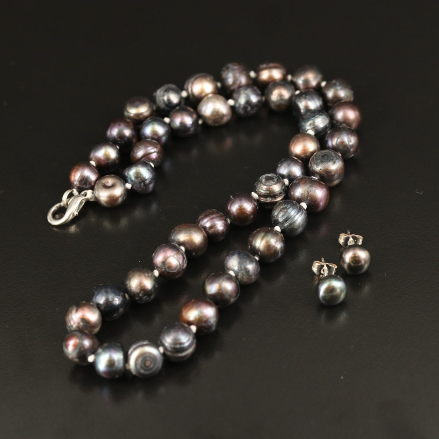Pearl Necklace and Stud Earrings